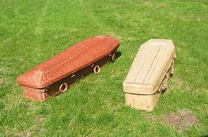 simple wicker and bamboo coffins